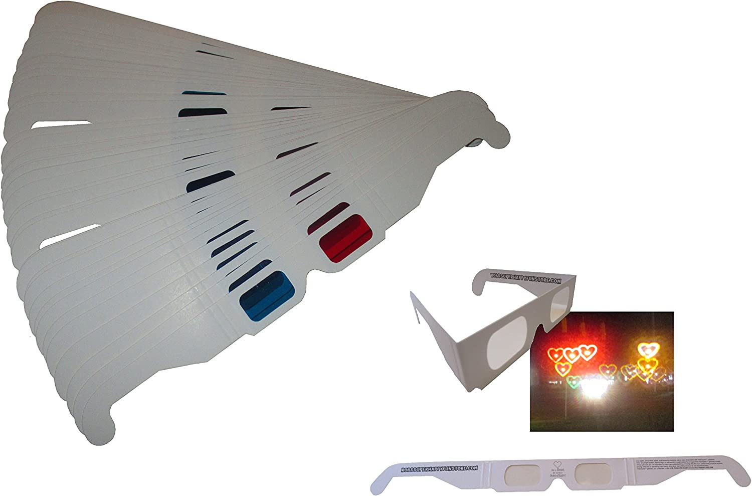 Red and Cyan cardboard-50 Pairs Unfolded White or Yellow Frame 3D Glasses Direct-3D Glasses Buy 3D Glasses in Bulk and Save