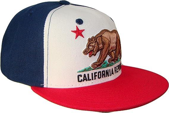 Flat Bill Snapback Hat//Cap w Embroidered Cali Bear Flag Black-Royal by WHANG