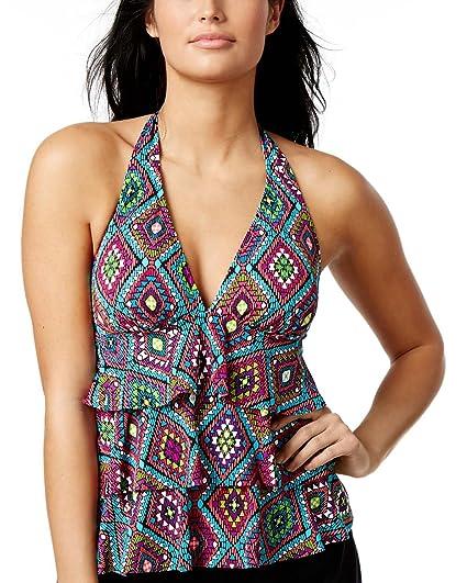 856d94db37 Swim Solutions Women s Santa Fe Geometric-Print Tiered Halter Tankini Top  (Multi