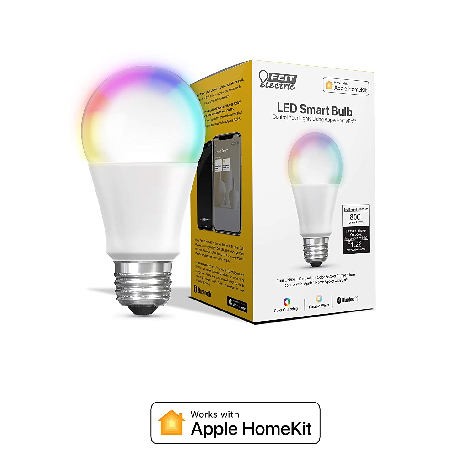 Works with Apple HomeKit Feit Electric RGBW Smart LED Tunable White//Color Changing 60W Equiv A19 Bulb OM60//RGBW//HK Feit Electric Company