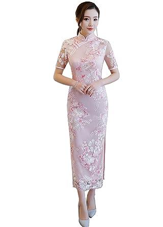 e20b500a5 Amazon.com: Shanghai Story Lace Chinese Dresses Long Cheongsam Short Sleeve  Embroidery Qipao: Clothing