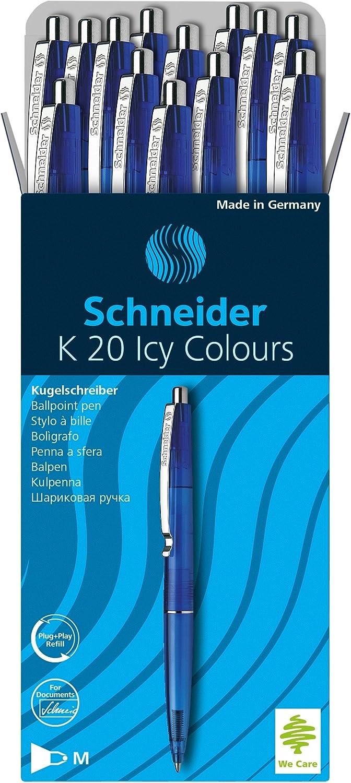 Noir Stylo bille r/étractable, M Lot de 20 Schneider K20 Icy Colours