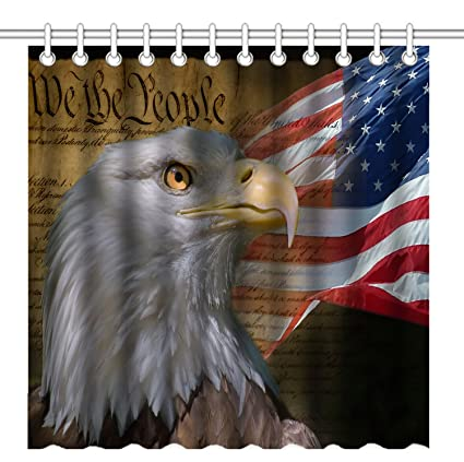 Wknoon 72 X Inch USA Flag American Patriotic Eagle Shower Curtain Waterproof Polyester Fabric