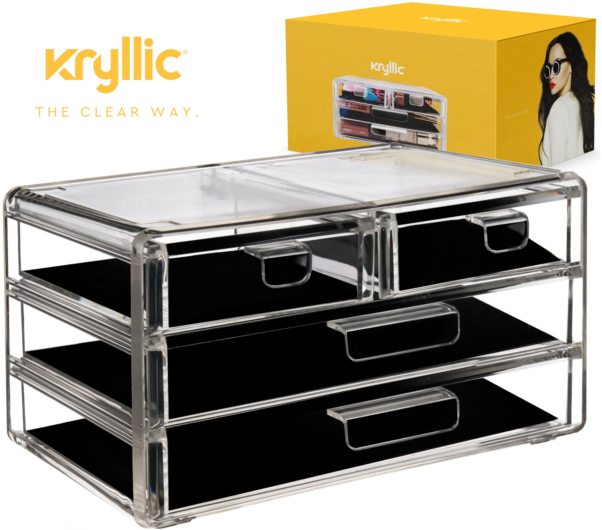 Acrylic Cosmetic jewelry Makeup Organizer - 4 drawers plastic vanity countertop display case storage make up brush nail polish lipstick products accessories bathroom kitchen office desk organization.