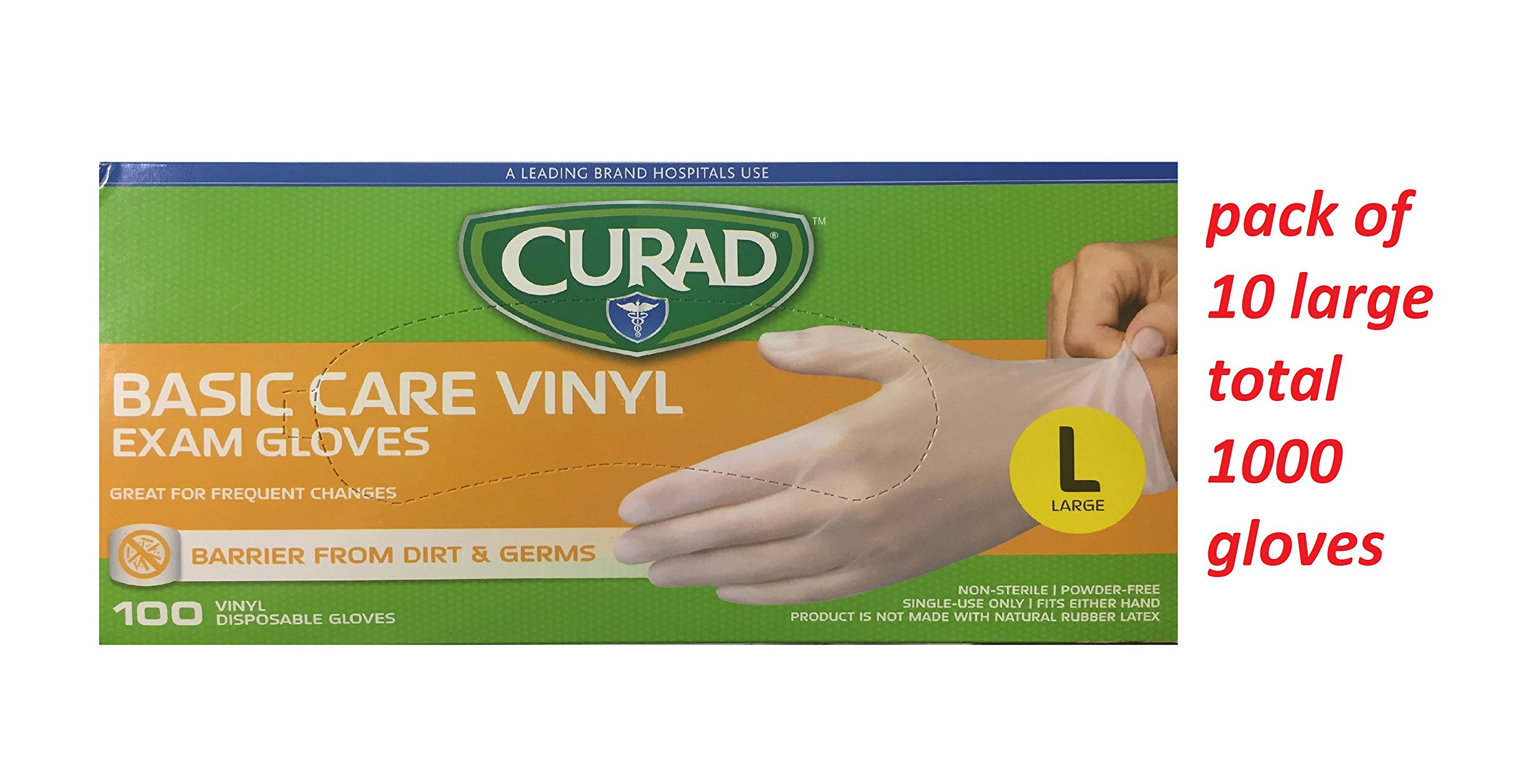 Curad Basic Care Vinyl Exam Gloves, Large, 100 Count (Pack of 10) (Total 1000 Large Gloves)