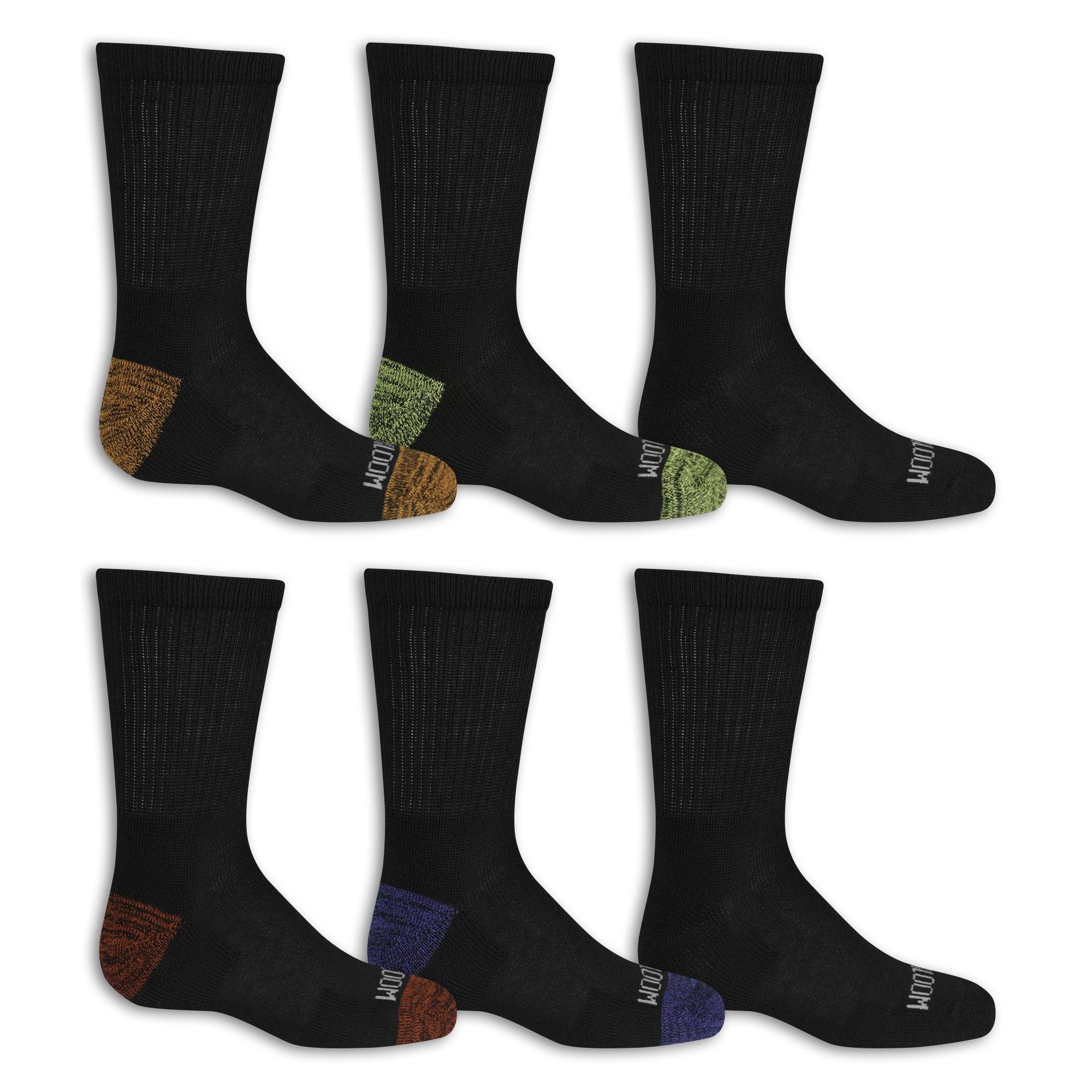 Fruit Of The Loom Big Boys' 10 Pack Crew Socks, Black/Gray/Blue/Green/Orange/Red, Shoe Size: 3-9