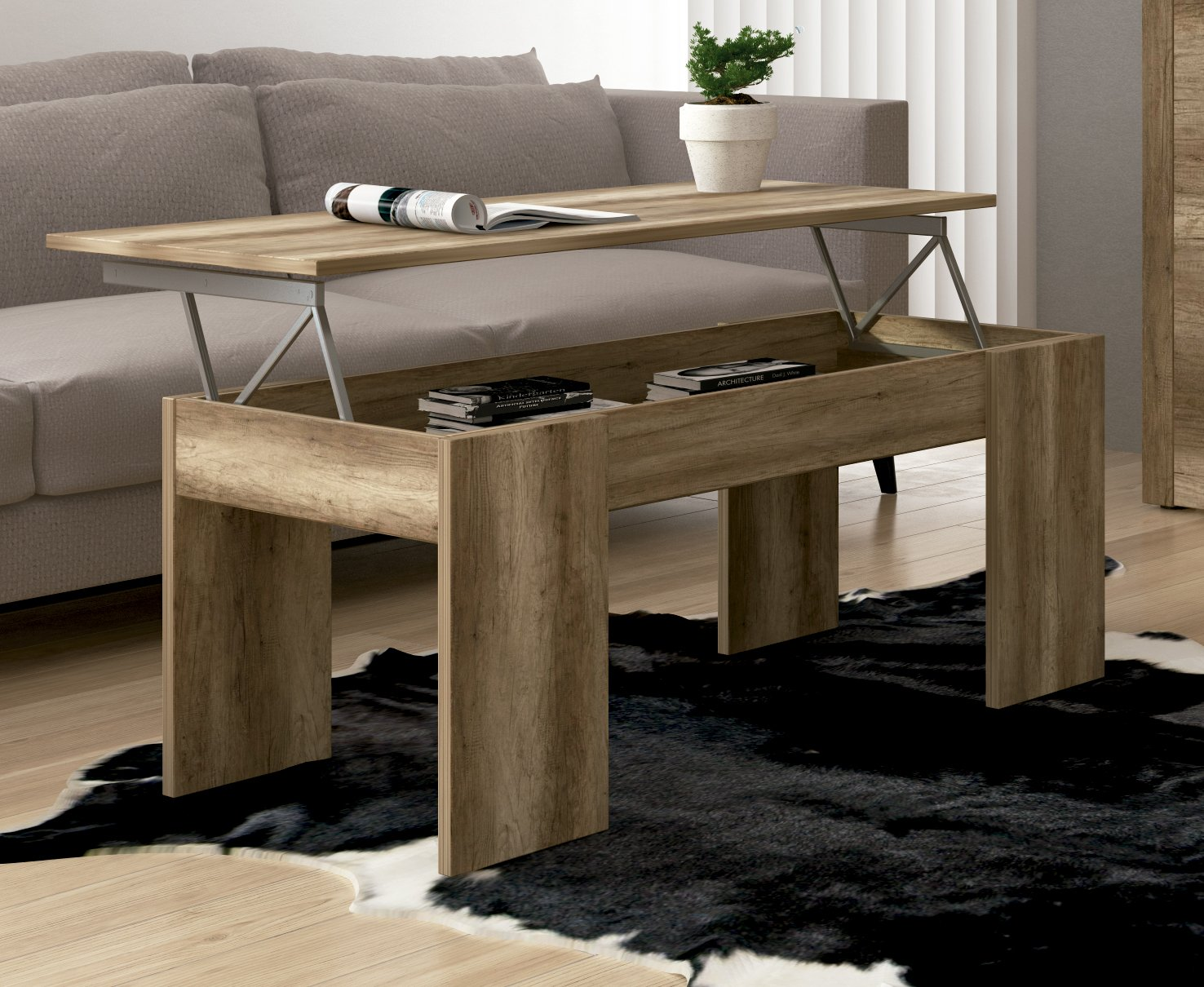 Studio Decor Lara - Mesa de centro elevable, Madera, Marrón, 100x50x45 cm