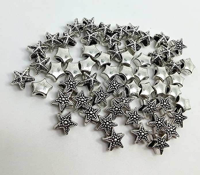 Lot of 5 infill beads in starfish shape silver metal pearl hole 4.6 mm.