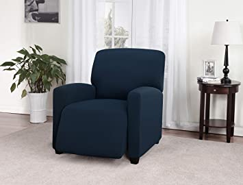 Marvelous Madison Stretch Jersey Recliner Slipcover Large Solid Navy Unemploymentrelief Wooden Chair Designs For Living Room Unemploymentrelieforg