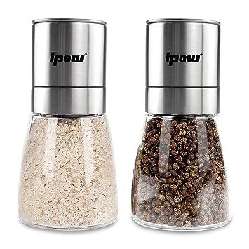 Ipow sal y pimienta Set – Doble juego de Combo para especias molinillos para sal y