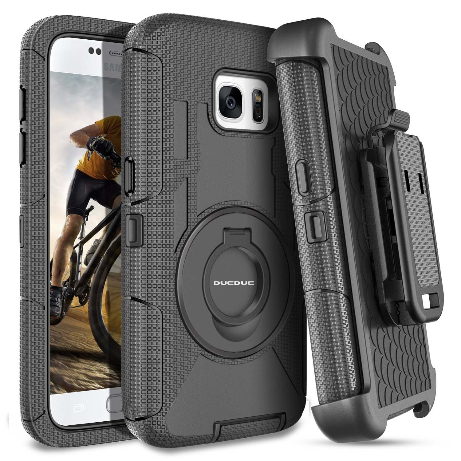 S7 Case,Galaxy S7 Case,DUEDUE Ring Kickstand Belt Clip Holster,Shockproof Heavy Duty Hybrid Hard PC Soft Silicone Full Body Rugged Protective Case for Samsung Galaxy S7 (G930), Black by DUEDUE