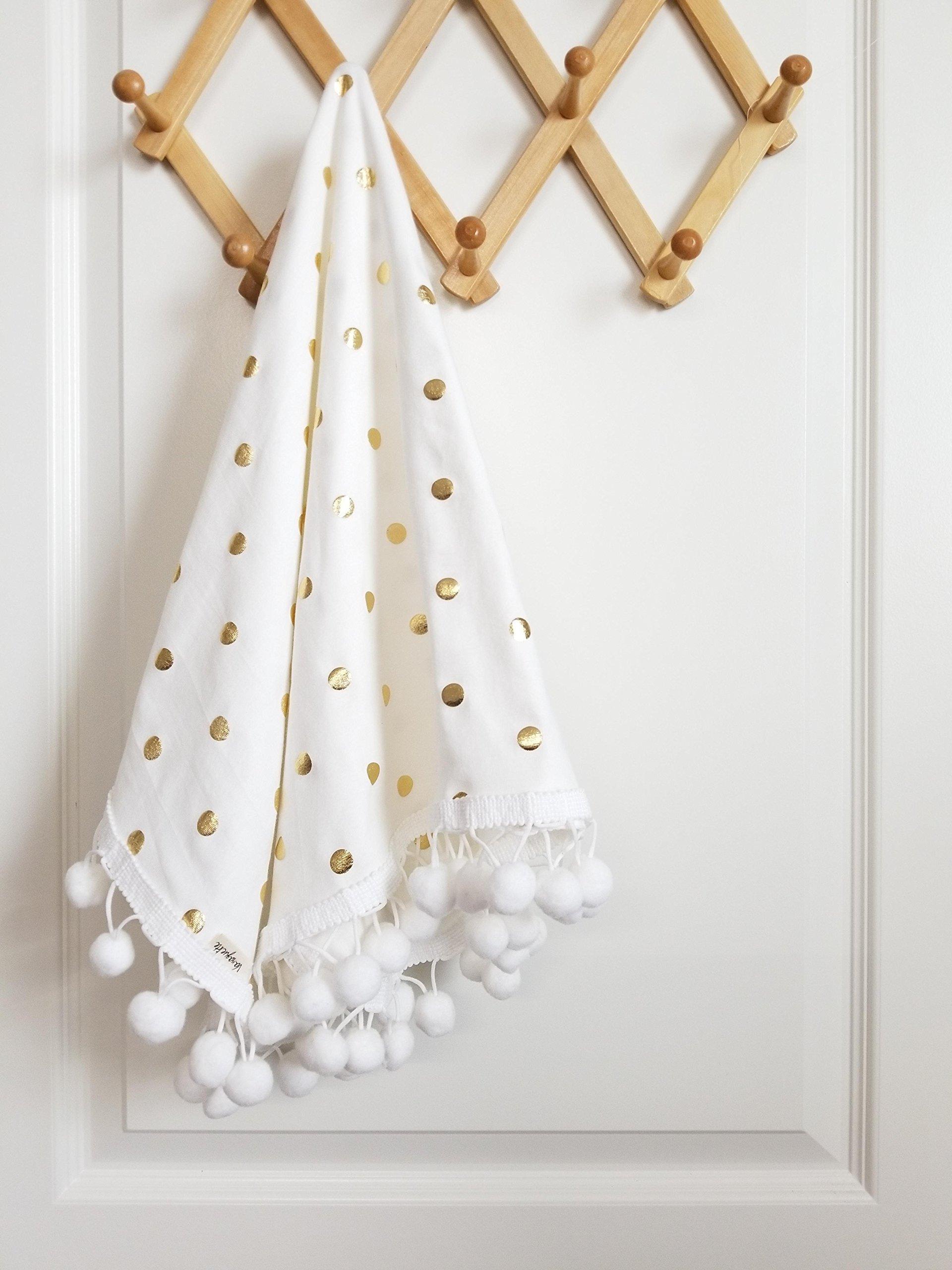 Baby Blankets - girl Pom pom Blanket - White and gold polka dot - Cotton Knit swaddle