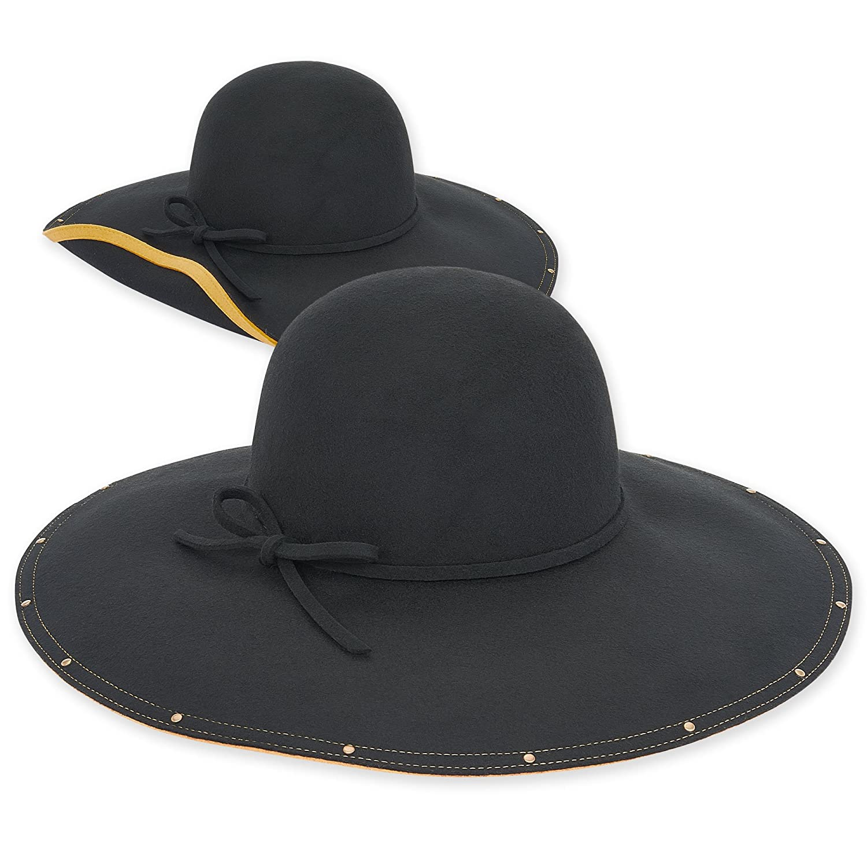 612fe931b Adora Women's Wool Felt Floppy Fedora Hat with Studded Contrasting ...