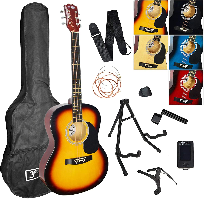 3rd Avenue Pack de guitarra acústica, Amarillo (Sunburst ...