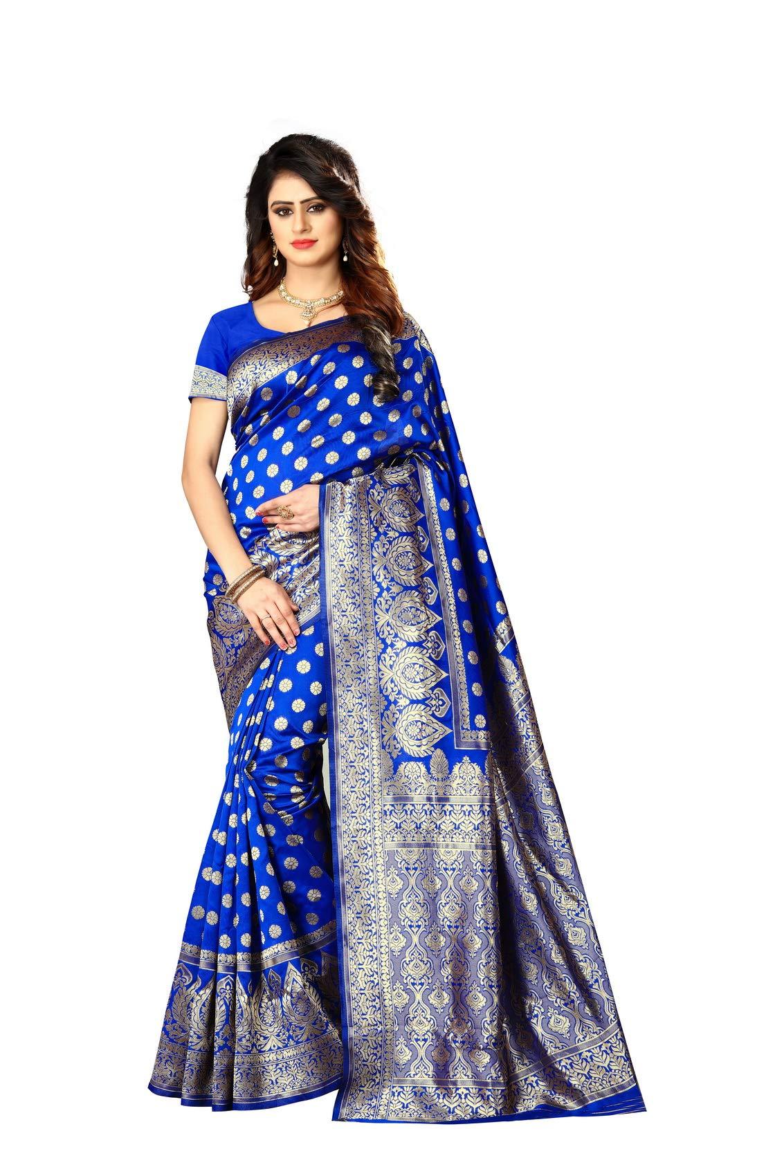 Women's Banarasi Silk Saree Indian Wedding Ethnic Sari & Unstitch Blouse Piece PARI 22 (Royal Blue)