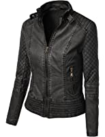 LE3NO Womens Faux Leather Zip Up Moto Biker Jacket with Pockets