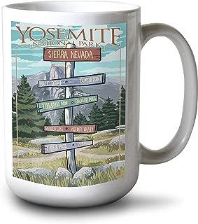 product image for Lantern Press Yosemite National Park, California - Signpost (15oz White Ceramic Mug)