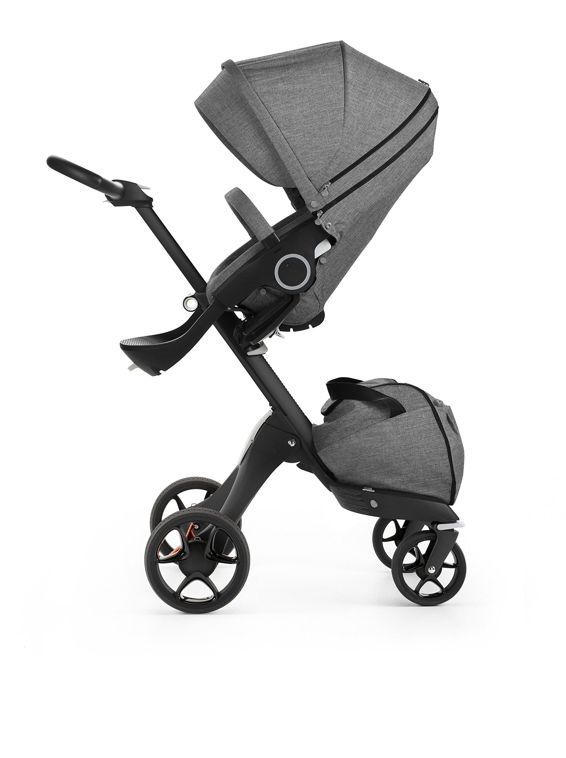 Stokke Black V5 / Chassis With Complete Stroller Seat, Parasol and Cup Holder, Black Melange