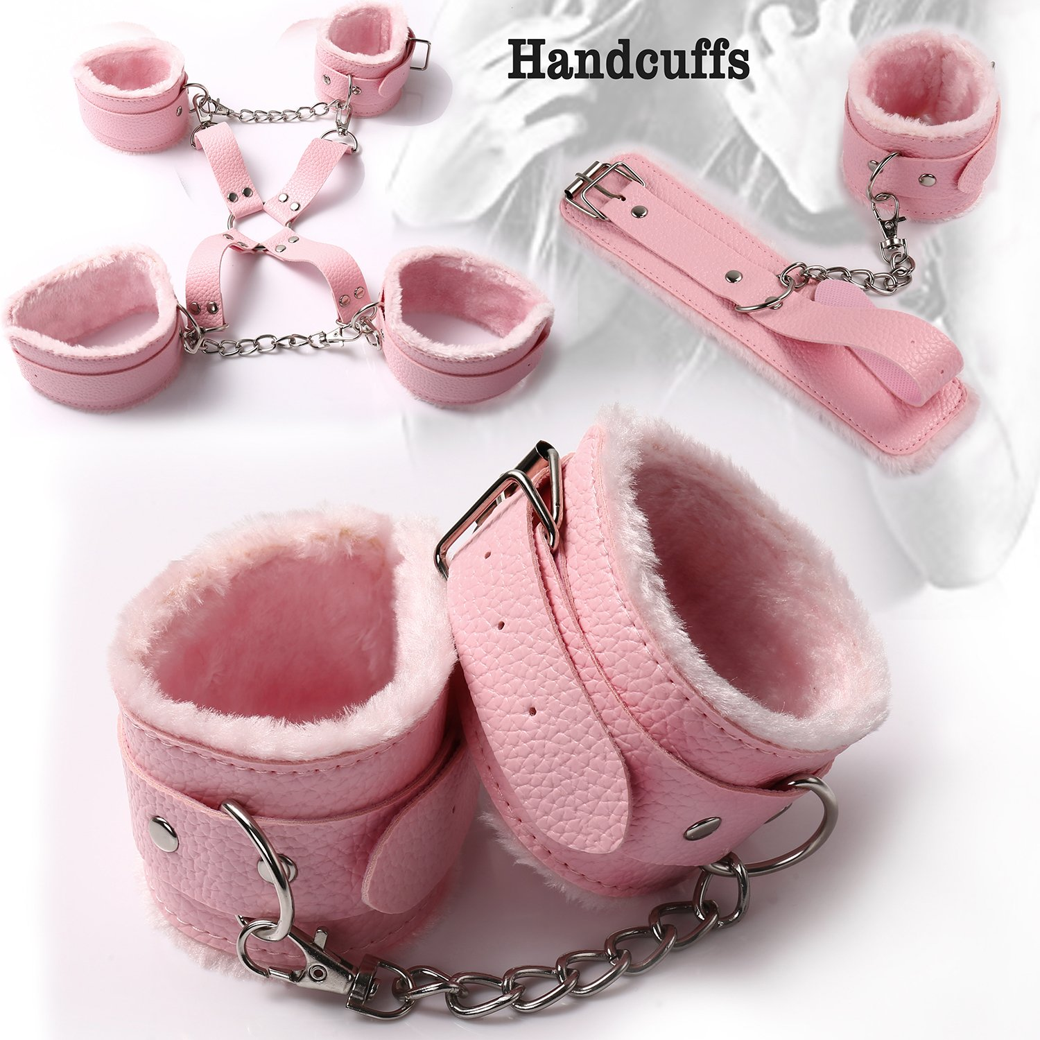 Premium Bondage Restraint, Bed Sex SM Bondage System Leather Set Romance Blindfold whips handcuffs Toys Adults For Men &Women Couple, 10 Pieces (pink) by KFXD (Image #6)