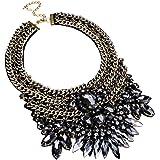 Fashion Gold Tone Chain Glass Crystal Charm Chunky Choker Statement Bib Necklace