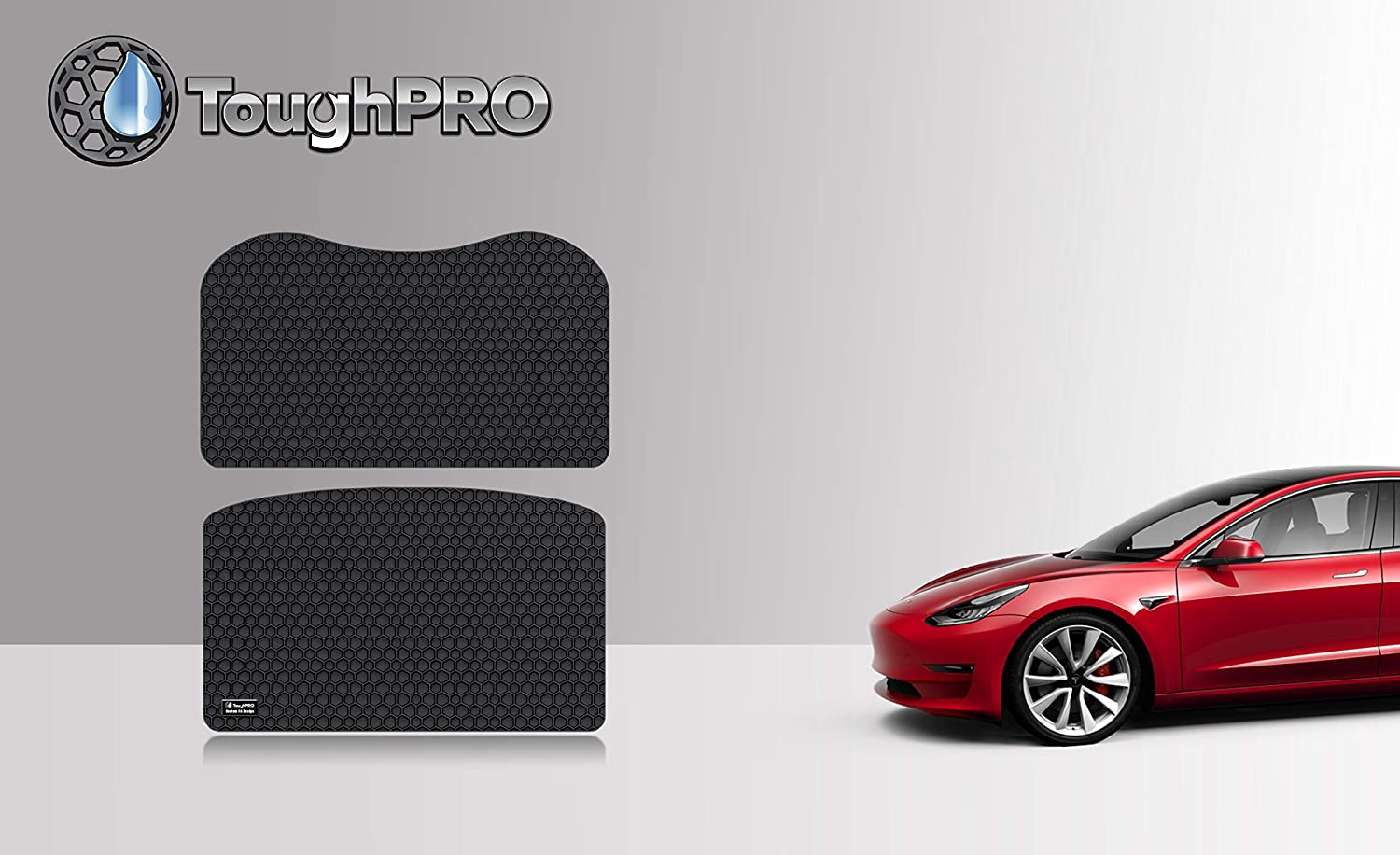 - All Weather 2017 Heavy Duty - ToughPRO Front Trunk Mat Storage Mat Compatible with Tesla Model 3 2018 Made in USA - Black Rubber 2019 Not Included Back Trunk Mat
