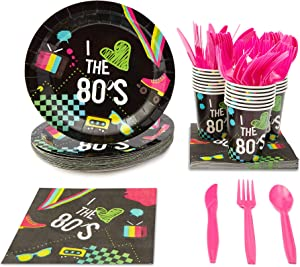 80's Party Bundle, Includes Plates, Napkins, Cups, and Cutlery (24 Guests,144 Pieces)
