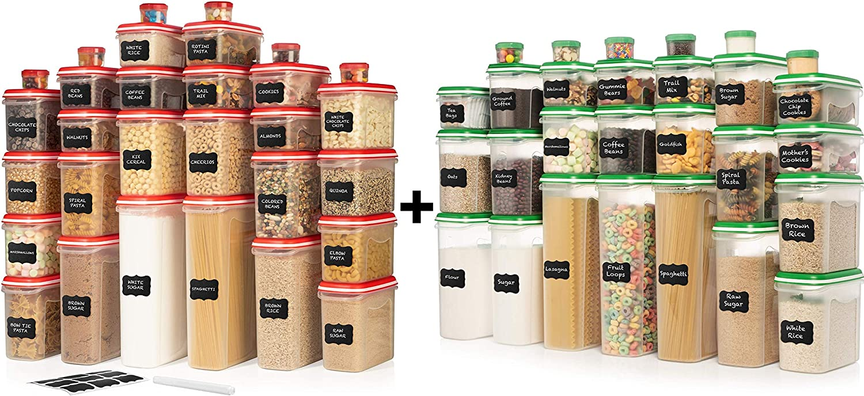 ULTIMATE LARGEST Set of 56 Pc Food Storage Containers (28 Container Set) Green and LARGEST Set of 60 Pc Food Storage Containers (30 Container Set)