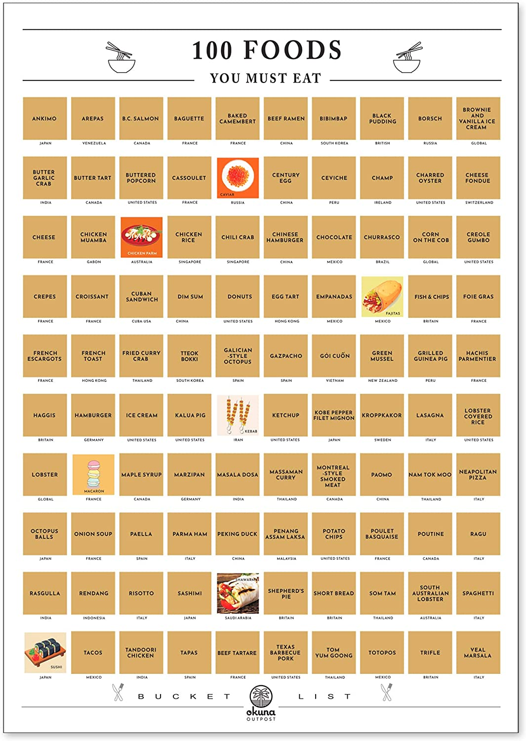 Scratch Off Poster, 100 Foods You Must Eat Bucket List (16.5 x 23.5 Inches)
