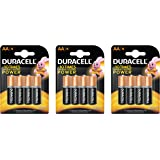 Duracell Alkaline AA Battery with Duralock Technology - 12 Pieces (Black/Brown)