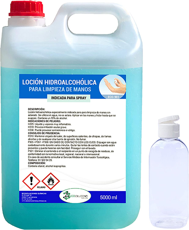 Ecosoluciones Químicas ECO- 901 | 5 litros | Loción Hidroalcohólica para manos | 70% alcohol garantizado | Somos fabricantes, Calidad asegurada | INCLUYE BOTELLA 75 ML