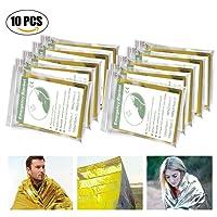 Migimi Manta de Emergencia (Paquete de 10), Manta de Supervivencia, Impermeable y Resistente al Viento térmico Mantas Supervivencia Rescate Manta, 210X160cm
