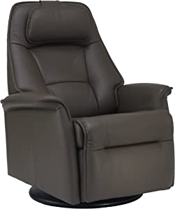 Fjords Stockholm Small Power Recline Swivel Swing Relaxer Recliner Chair in AL539 Safari Astro Line Premium Leather