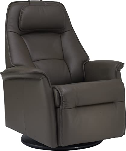 Fjords Stockholm Large Power Recline Swivel Swing Relaxer Recliner Chair in AL539 Safari Astro Line Premium Leather with in-Home Delivery and Setup