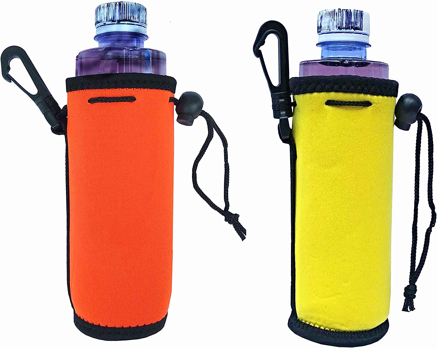 2 Pack 16.9 OZ Collapsible Neoprene Water Bottle Drawstring Coozies Coozy Carrier Tote Bag Pouch Cooler Coolie Cover Insulator Hugger Huggie Holder Sleeve - (Yellow+Orange)