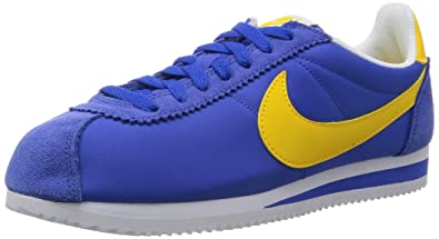 detailed look 3119c c2344 Nike Classic Cortez Nylon Baskets pour Homme - Multicolore, Bleu  Jaune   Blanc (