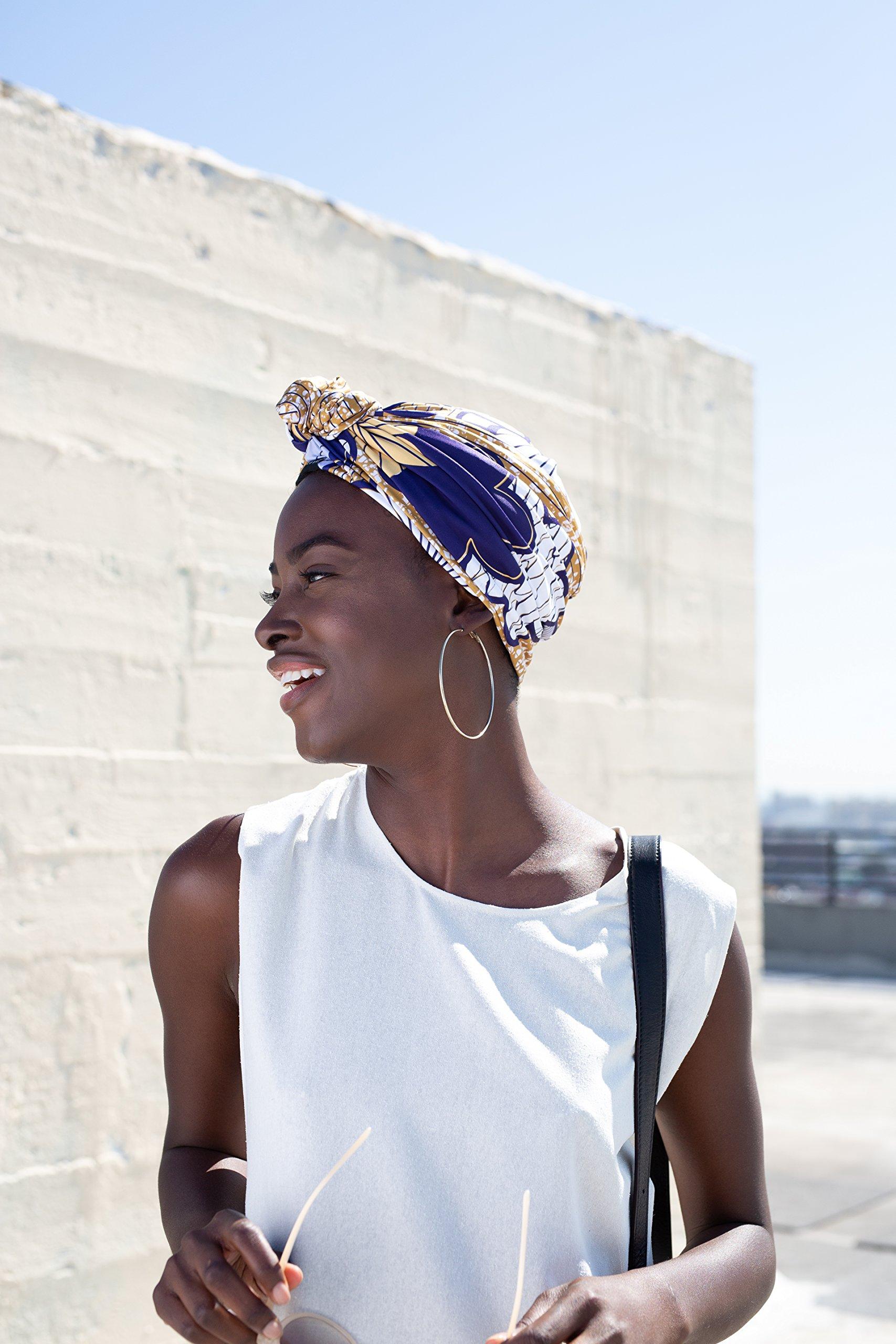 Grace Eleyae Knot Turban, Satin-Lined Hair Care Headwear [Day & Night] Malaika