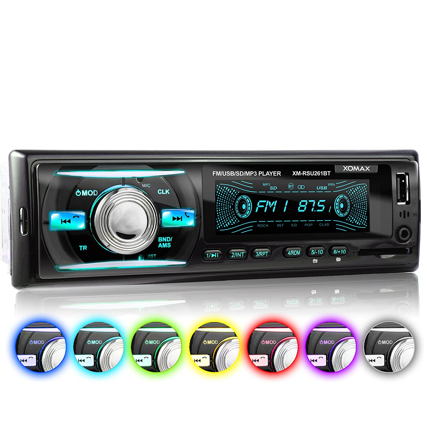 XOMAX XM-RSU261BT Car Stereo without CD-Player + Bluetooth Hands-free & music transfer + USB port (plays up to 128 GB) and SD-card-slot (plays up to 128 GB) for MP3 & WMA + 7 light colours adjustable: Blue, Red, Green... + AUX-Input + FM radio + Single DIN