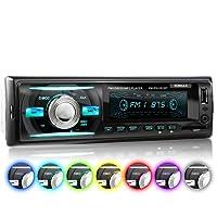 XOMAX XM-RSU261BT Autoradio aucun lecteur CD + Connexion Bluetooth + 7 couleurs d'éclairage (rouge, bleu, vert...) + Port USB (jusqu'à 128 GB) et fente pour cartes SD (jusqu'à 128 GB) pour fichiers MP3 et WMA + Entrée AUX + Dimensions standard DIN simple (1DIN) + Télécommande et tiroir métallique inclus