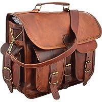handmadecraft 40,6cm piel Messenger Bag computadora portátil bolsa caso bolsa de hombro para hombres y mujeres