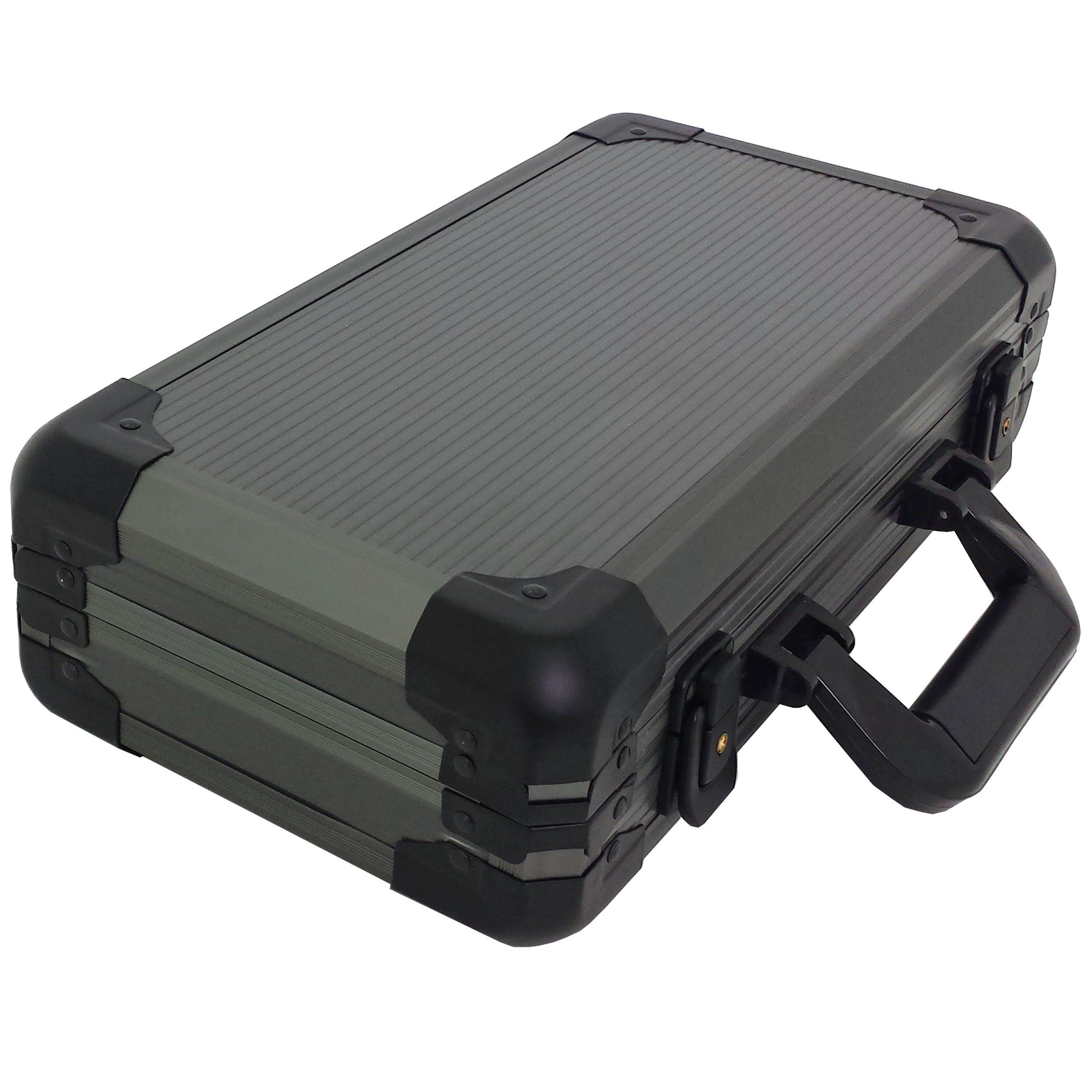 Watch Storage Case Aluminum Metal Briefcase for 12 Large Watches (Gunmetal Grey)