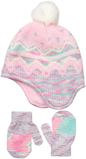 fbf41fc2b5b Amazon.com  Little Me Little Girls Fairisle Peruvian Hat Mitten Set ...