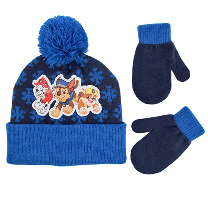 063af7044 Nickelodeon Boys' Toddler Paw Patrol Beanie Hat and Mittens Cold Weather  Set, blue Age 2-4