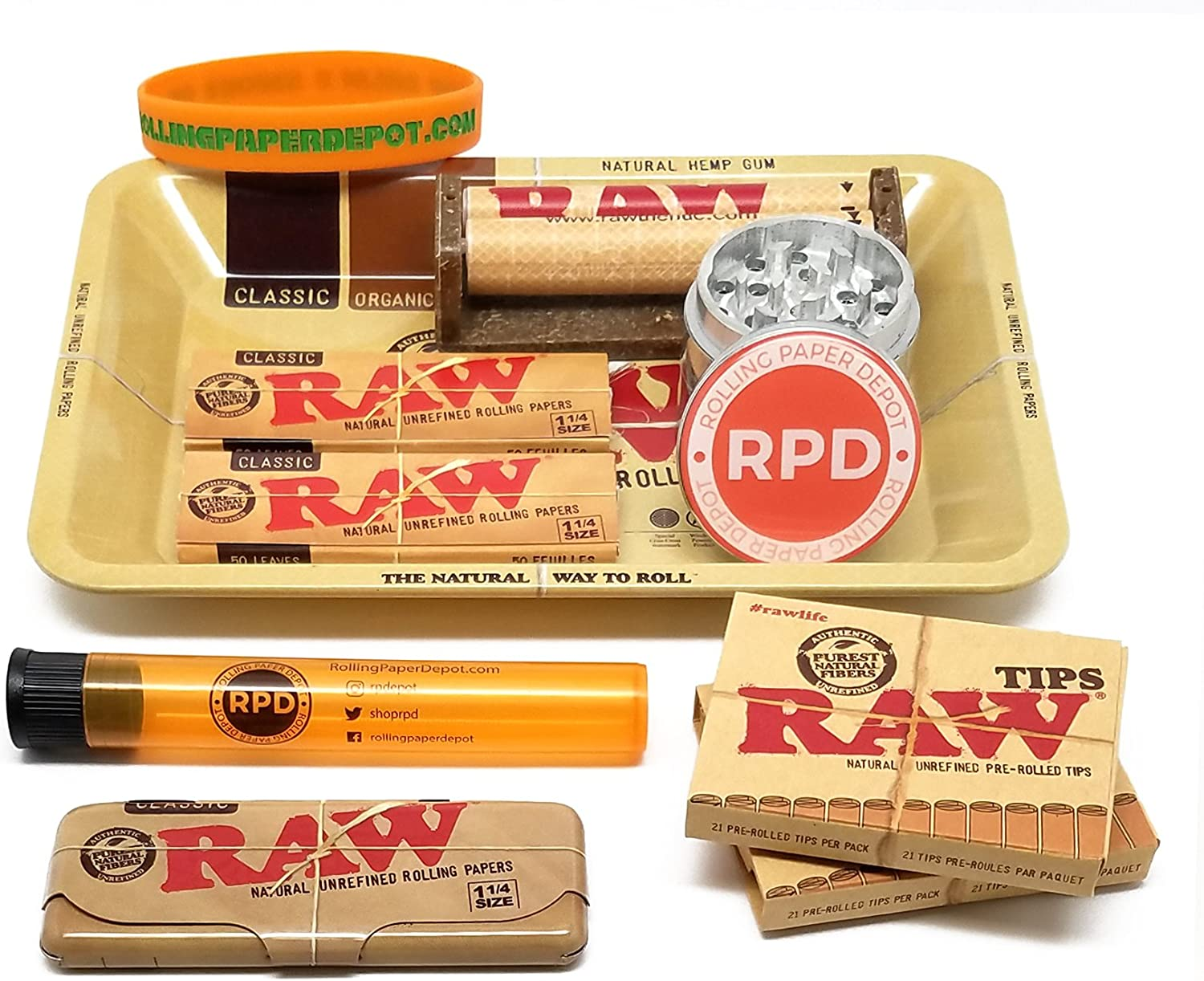 RAW Black Natural Unrefined 1 1//4 Rolling Papers with RPD KewlTube 24 Packs