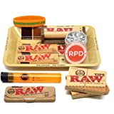 Bundle - 10 Items - RAW Rolling Paper, Pre-Rolled Tips, Paper Case, Mini Rolling Tray and Roller with RPD Grinder, Kewl…