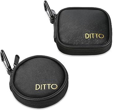 Ditto Estuche Auriculares, Caja Portable de Almacenaje con Mosquetón para para Audífonos Reproductor MP3 Tarjeta SD TF Cable USB -2 Unidades, Negro: Amazon.es: Electrónica
