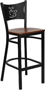 Flash Furniture HERCULES Series Black Coffee Back Metal Restaurant Barstool - Cherry Wood Seat