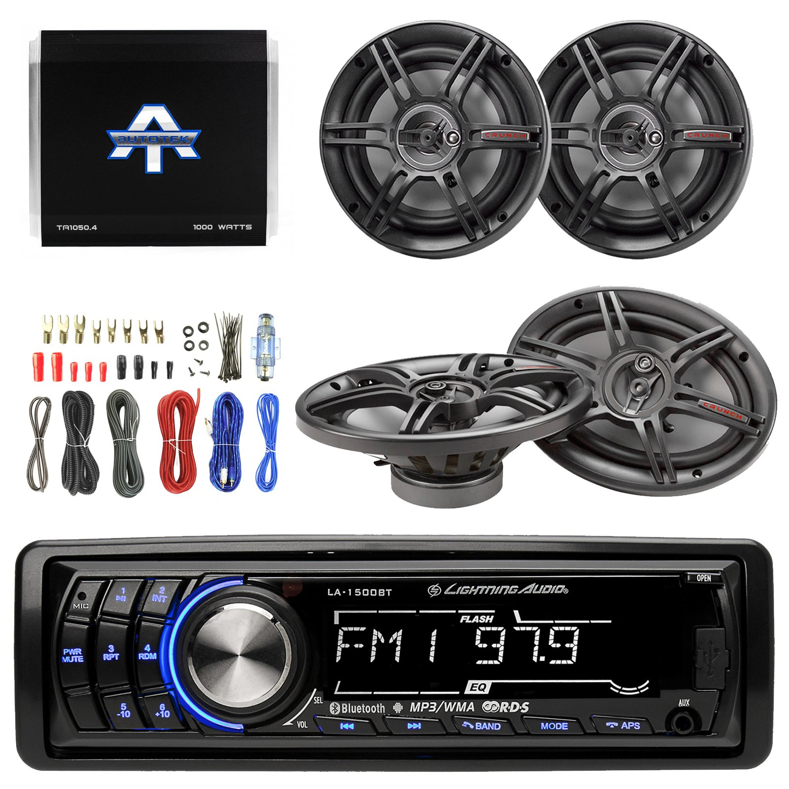 Lightning Audio By Rockford Fosgate LA1500BT MP3 Bluetooth Stereo Receiver Bundle Combo With 2x Crunch 6.5'' Inch & 2x 6x9'' 3-Way Black Coaxial Speaker + Autotek TA10504 Amp + Enrock Amp Install Kit