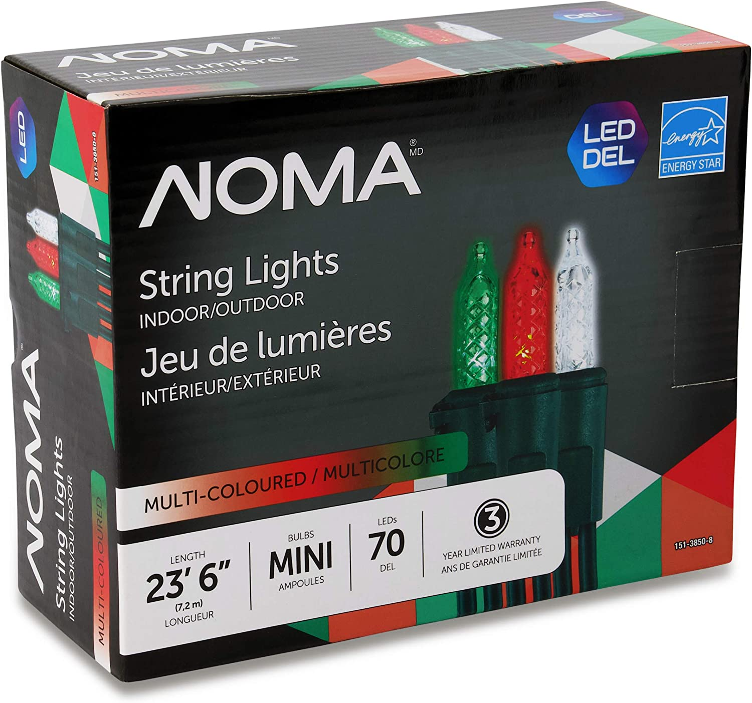 NOMA Premium Mini LED Christmas Lights | Indoor/Outdoor String Lights | Red, Green, and Clear Pure White Bulbs | 70 Light Set | 23.6 Foot Strand