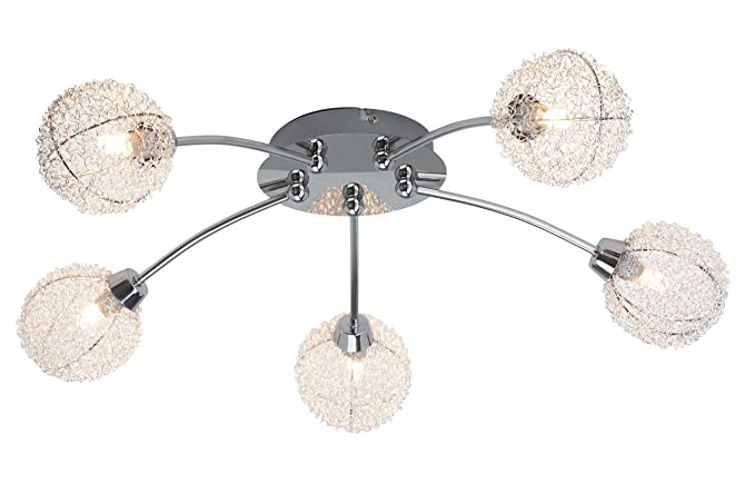 Brilliant belis 5 light semi flush ceiling light chrome including 5x