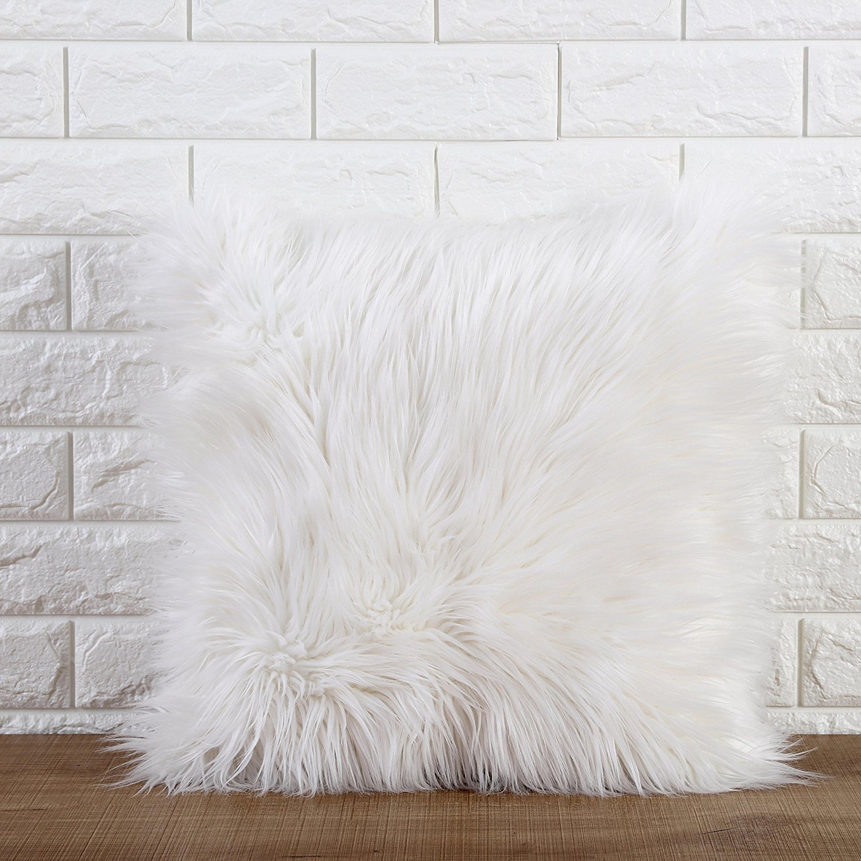 1, Grey Dreamaker Luxury Soft Faux Fur Fleece Cushion Cover Pillowcase Pillow Sham 18X18